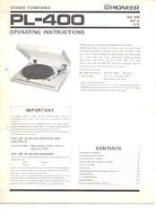 pioneer pl-300 user manual