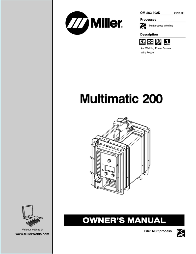 miller multimatic 200 owners manual