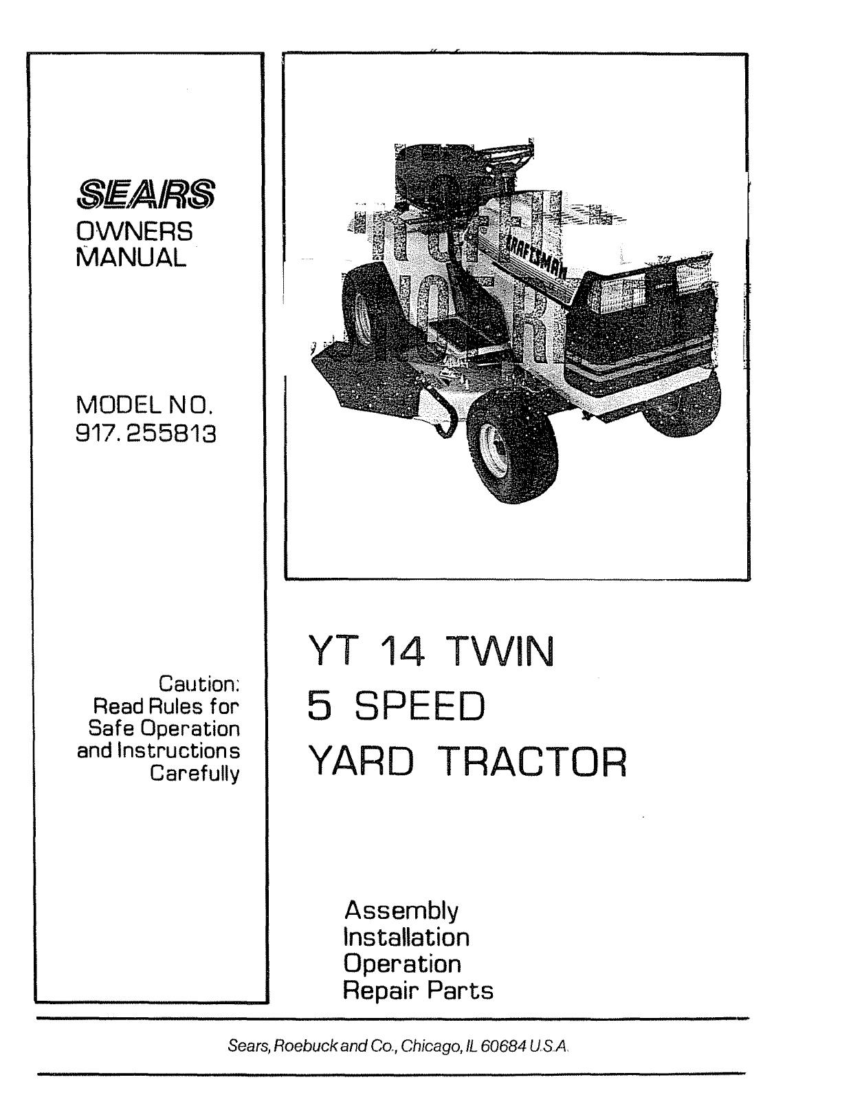 1986 craftsman yt tractor manual