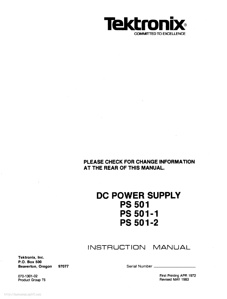 tektronix ps280 dc power supply manual