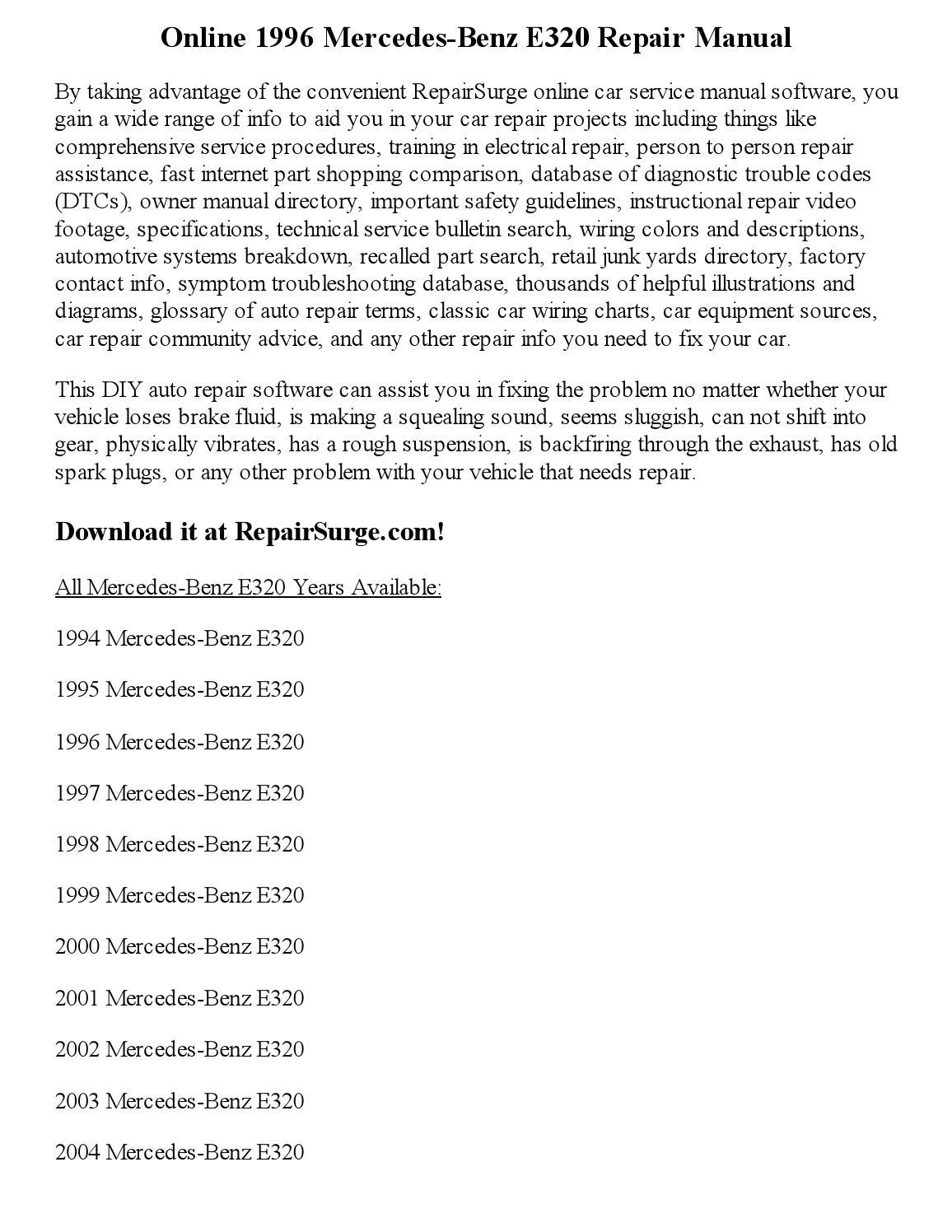 1996 mercedes benz e300td shop manual