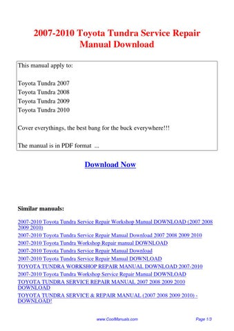 2007 toyota hilux repair manual pdf