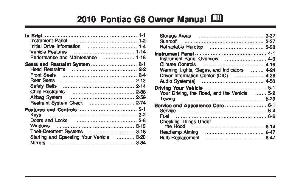 2006 pontiac g6 parts manual