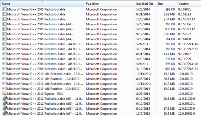 microsoft visual c++ package 2005 manual install