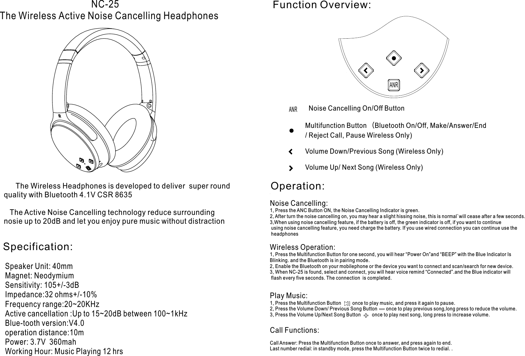 4.5btnc turn on noise cancelling manual