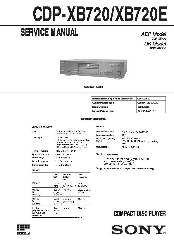sony cdp-xa20es service manual