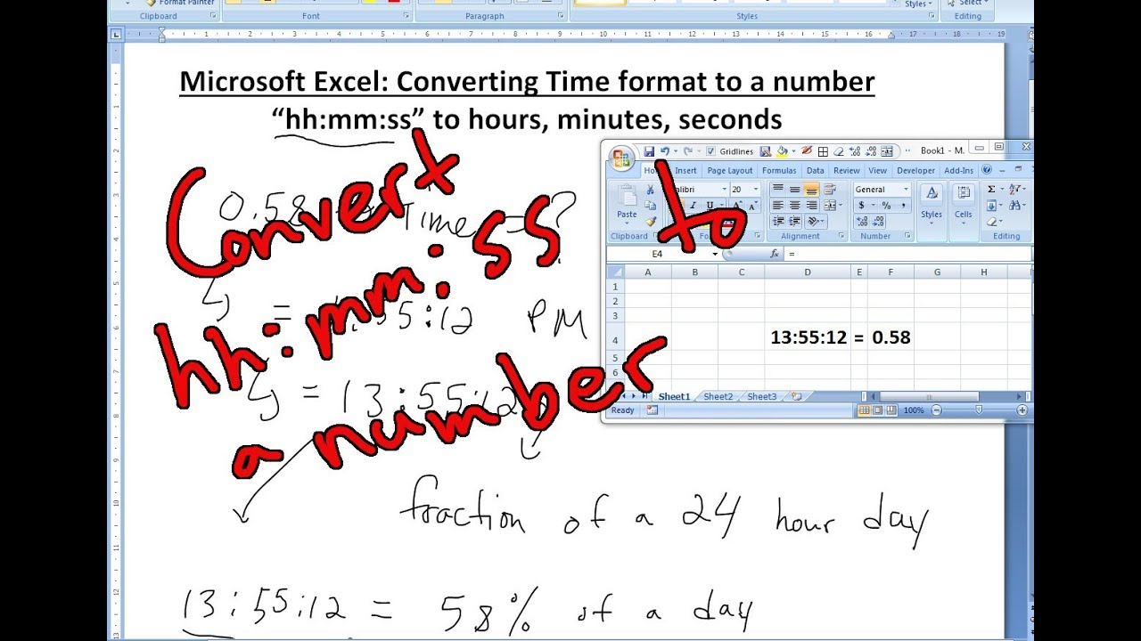 how to convert minutes to seconds manually