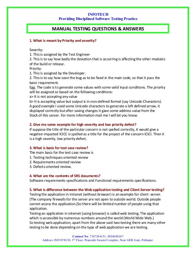 experience interview questions and answers on manual testing