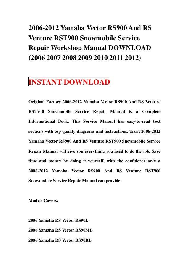 yamaha vector manual repair rs90pltf 2015