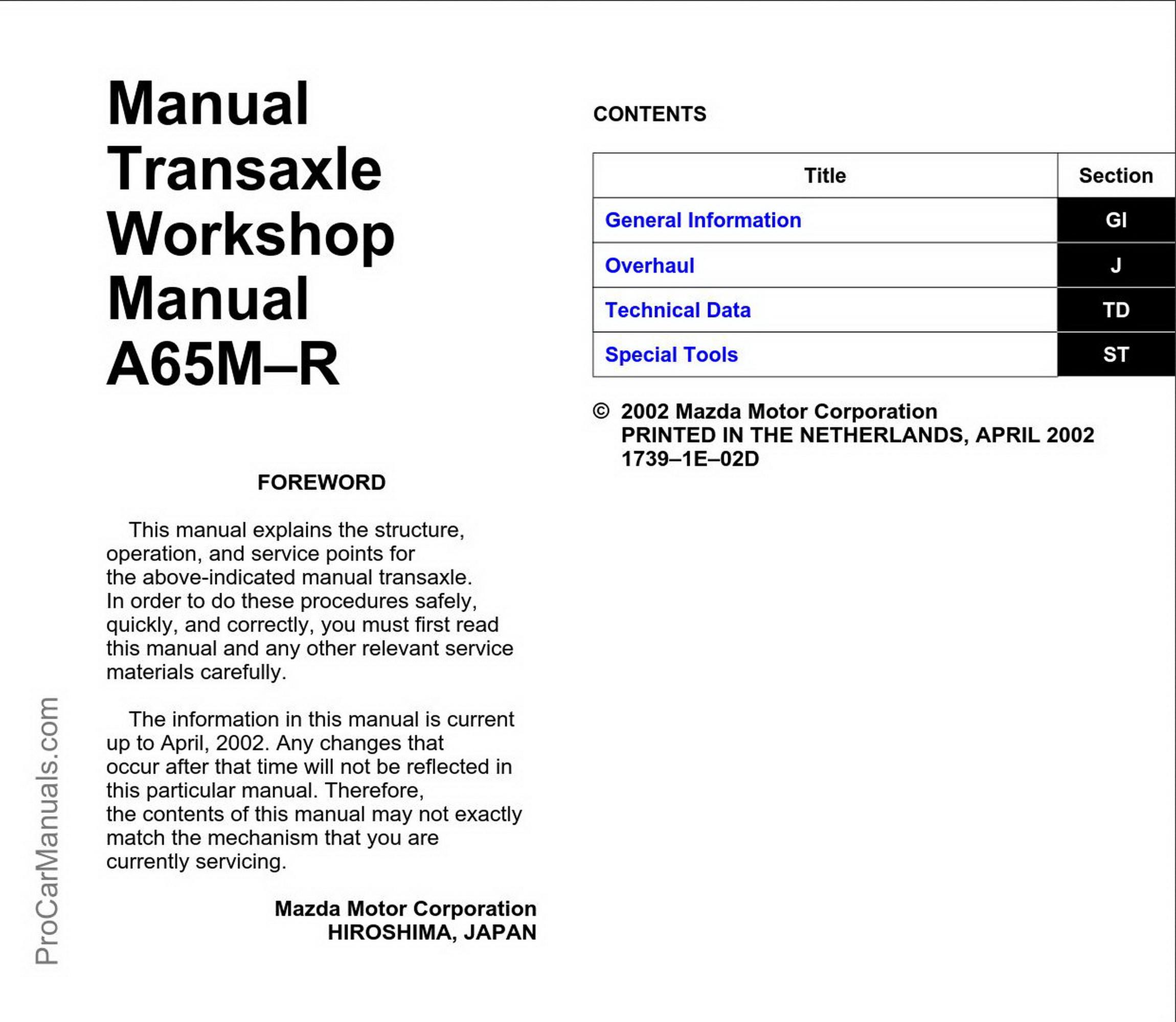 05 mazda 6 manual trans removal