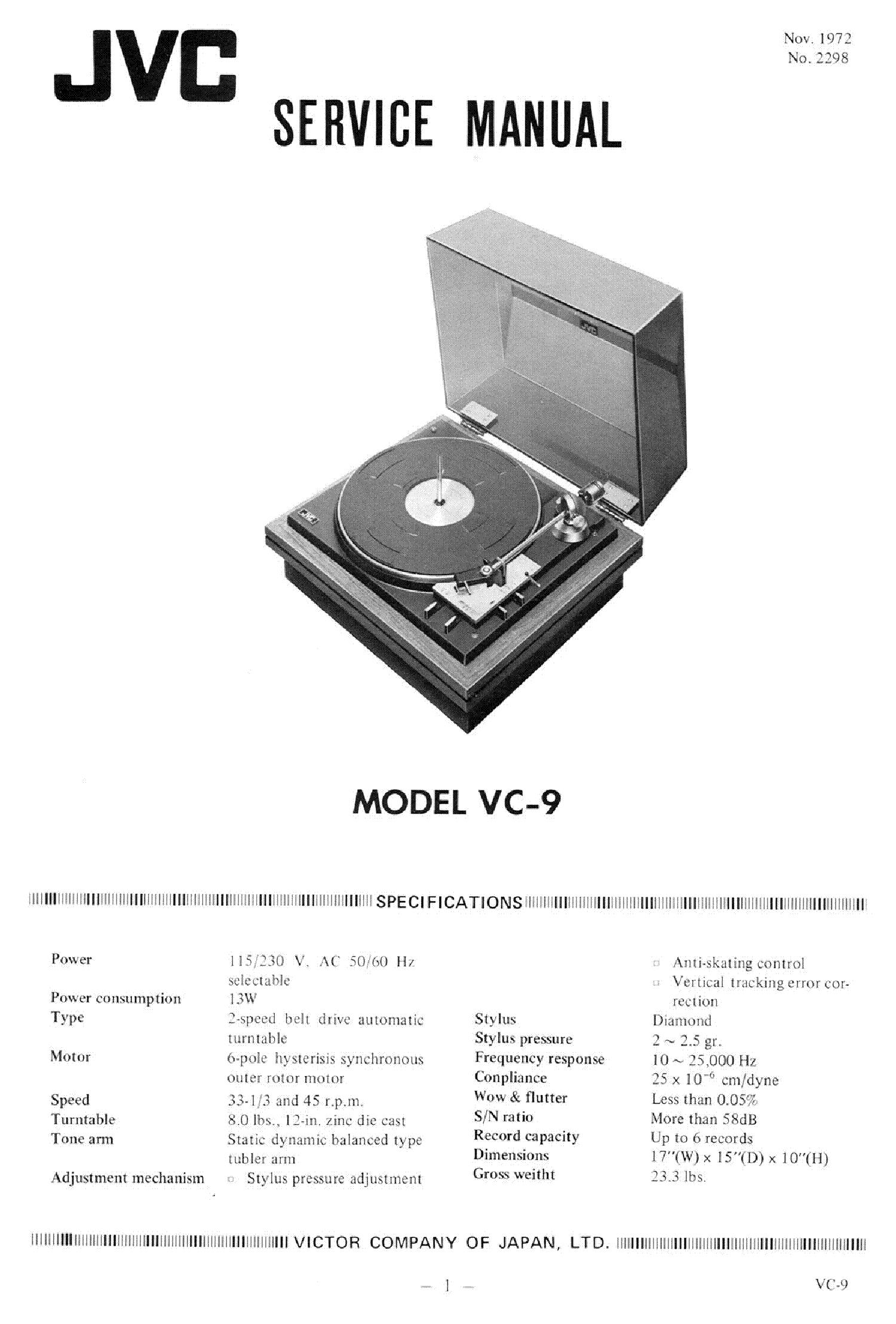 jvc turntable l-a55 manual