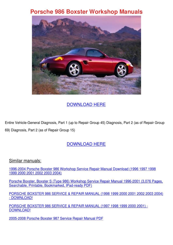 porsche boxster shop manual pdf