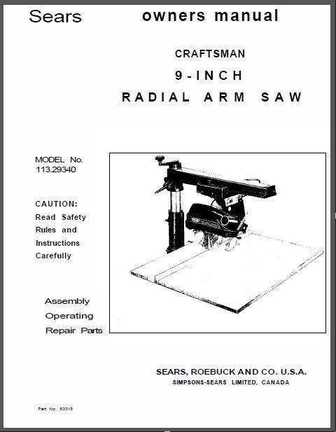 sears craftsman power tool manuals