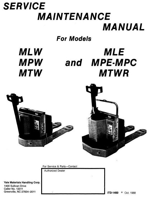 yale electric pallet jack parts manual