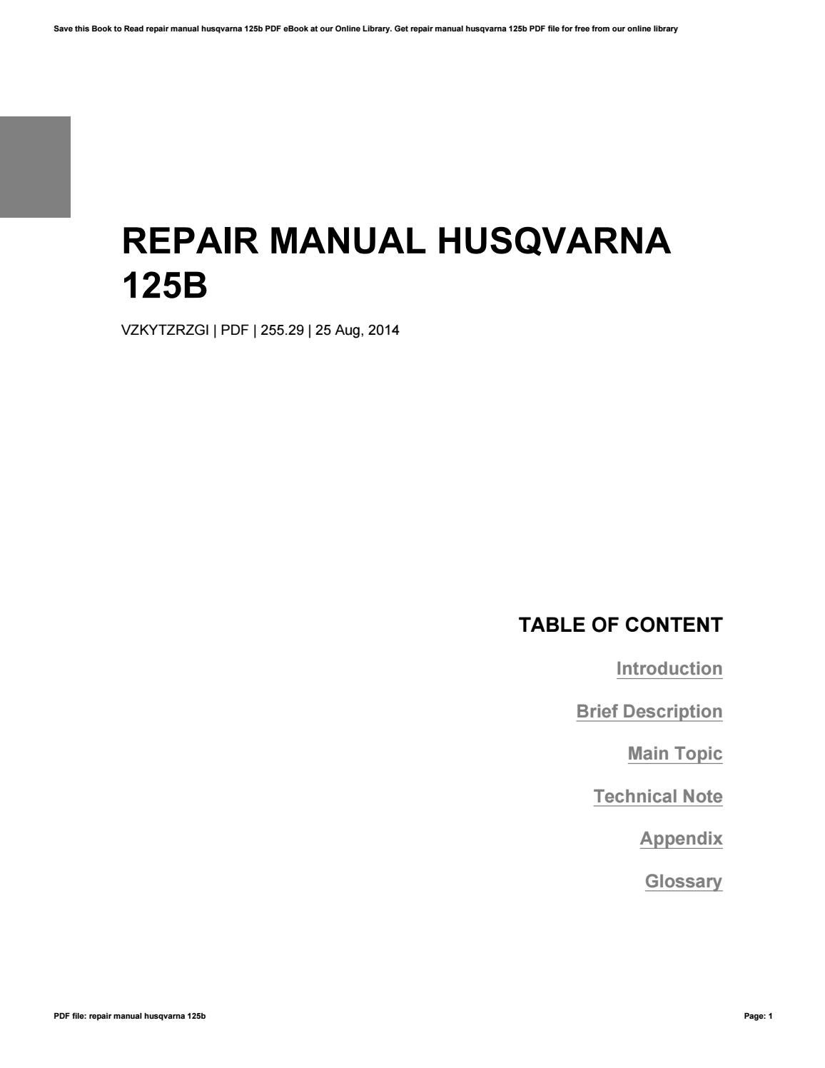 free husqvarna 125b repair manual pdf