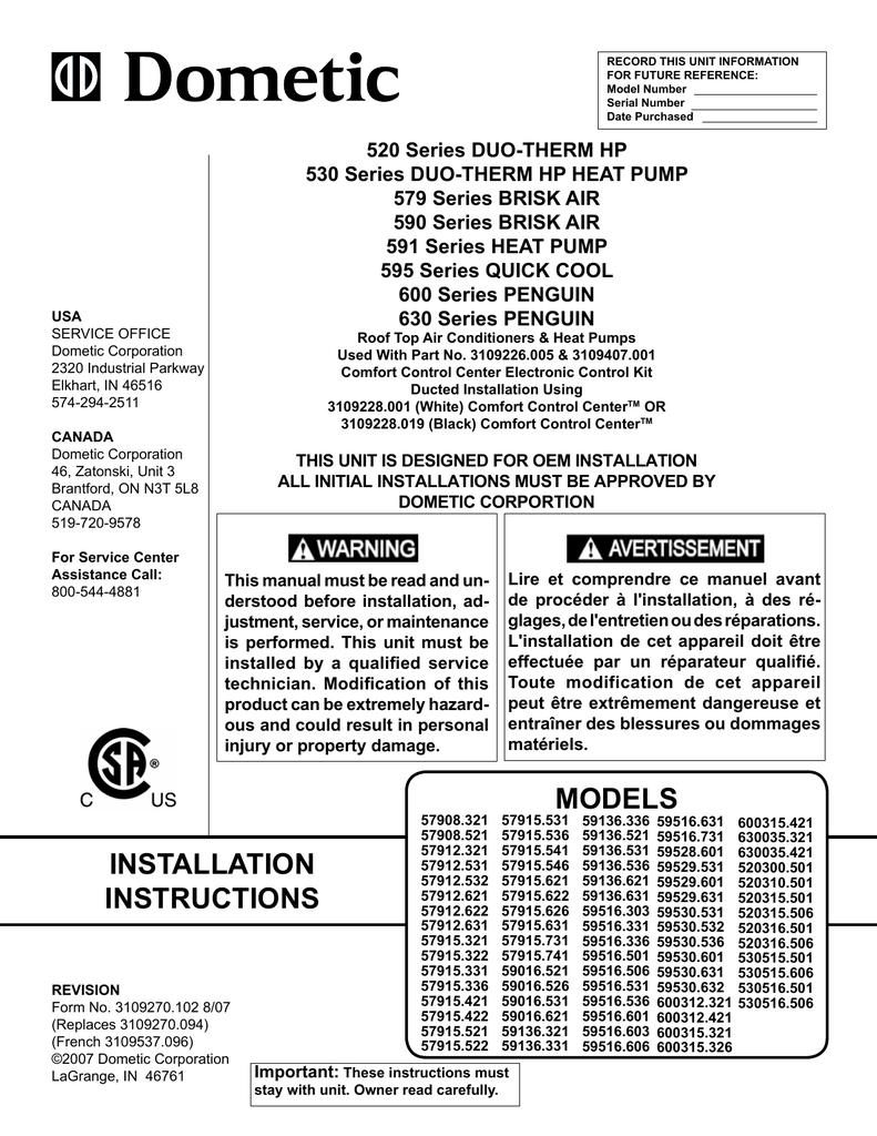 dometic rv air conditioner comfort control center digital manual