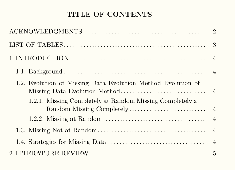 apa manual 6th edition table of contents