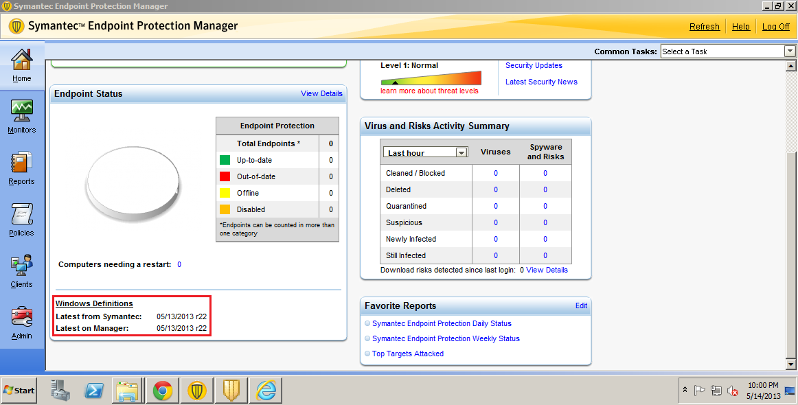 symantec endpoint protection manager manually update definitions