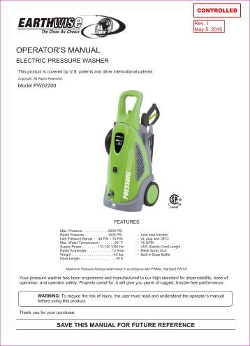 simonize pressure washer owners manual
