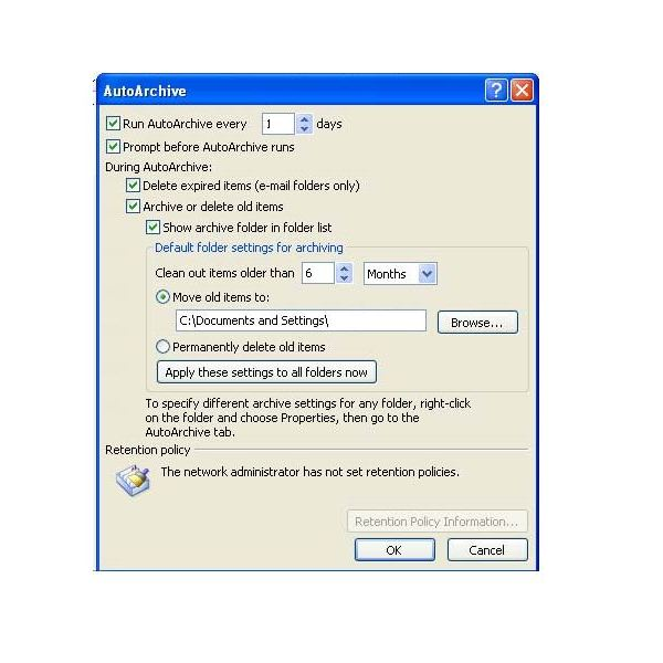 manual archive settings in outlook 2010