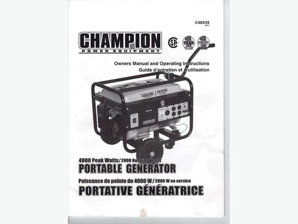 champion 4000 watt 2800w generator manual