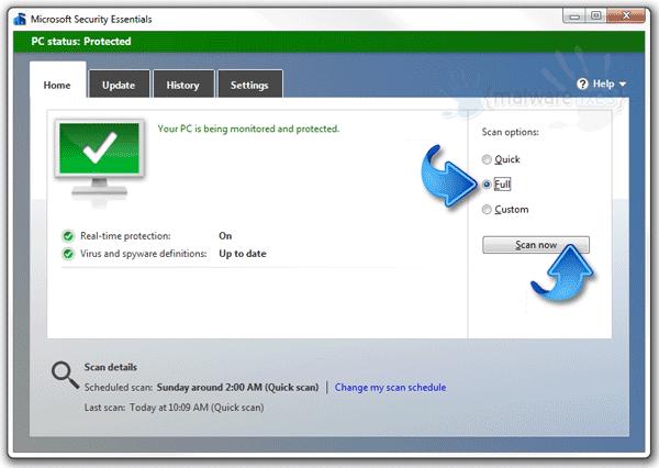 manually uninstall microsoft security essentials windows 7