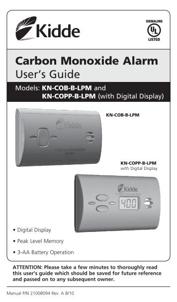 kidde battery operated carbon monoxide alarm 9co5 manual