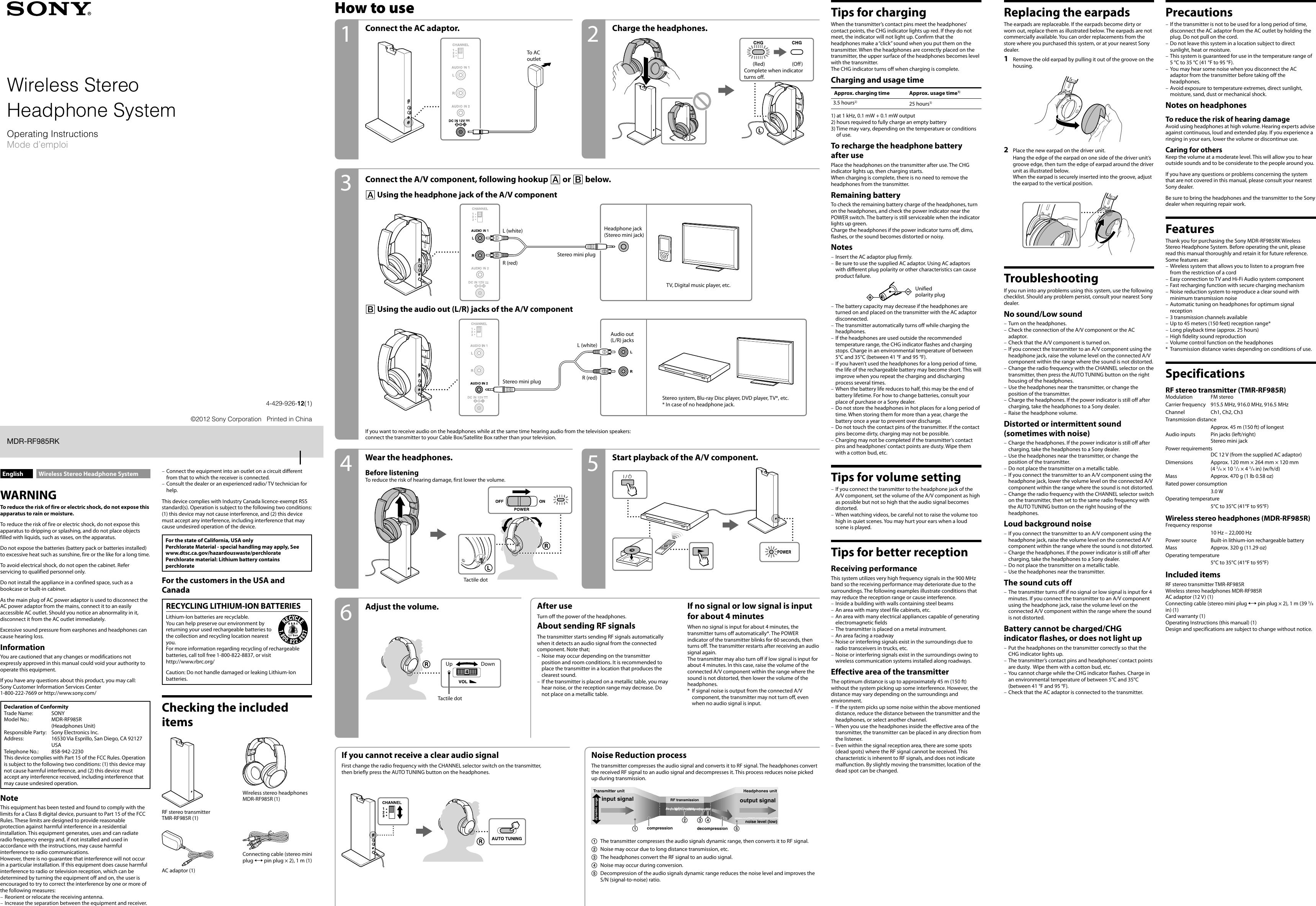 manual for sony mdr-rf985r