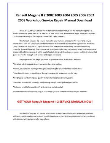 renault master 2005 workshop manual