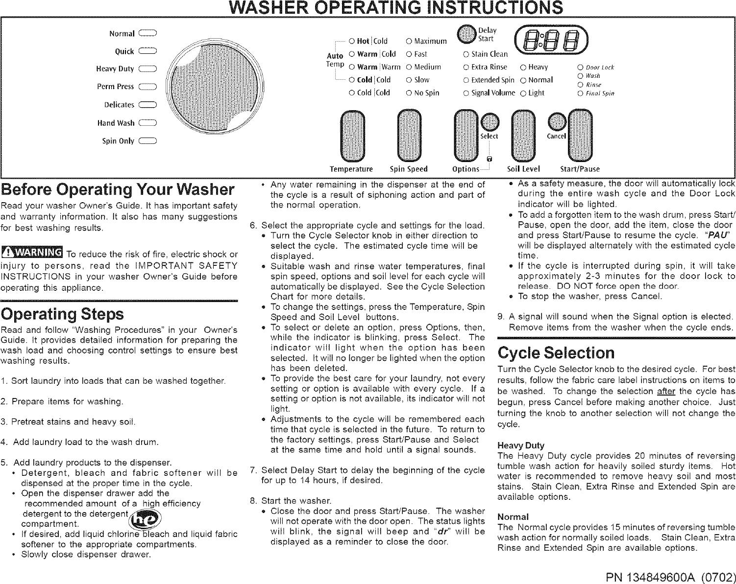 frigidaire laundry center user manual