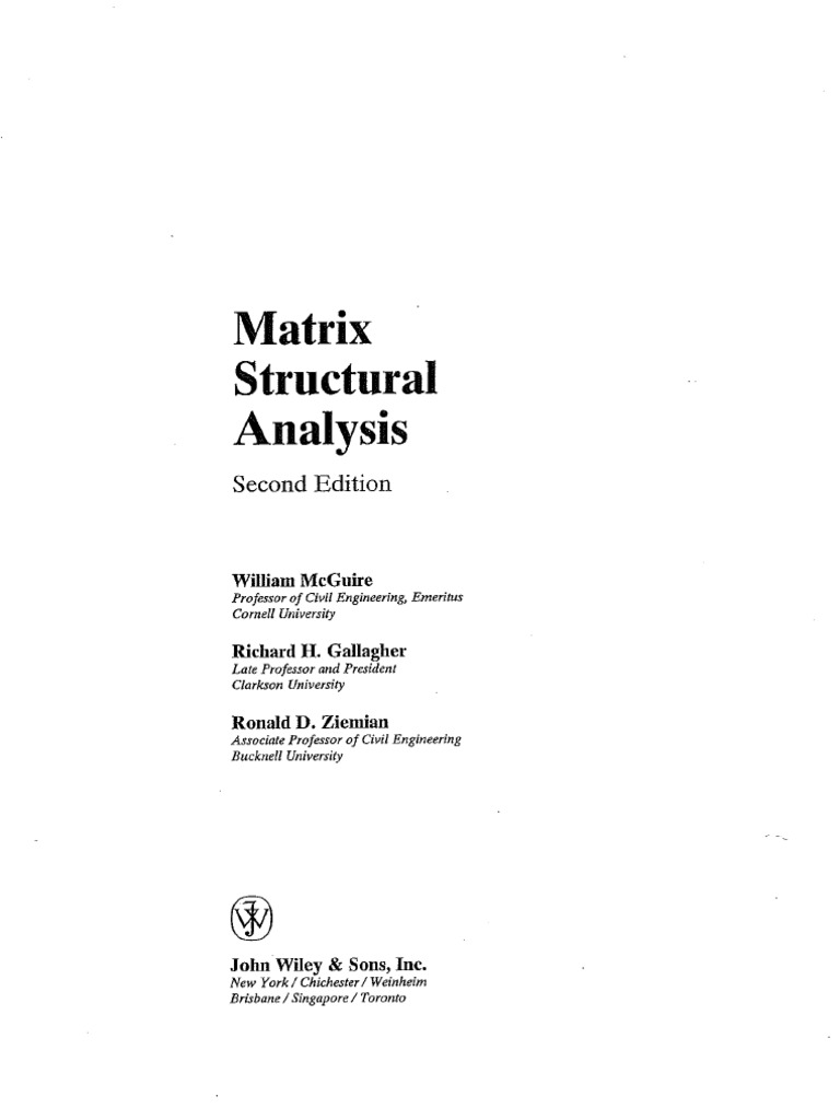 matrix structural analysis mcguire solution manual pdf free download