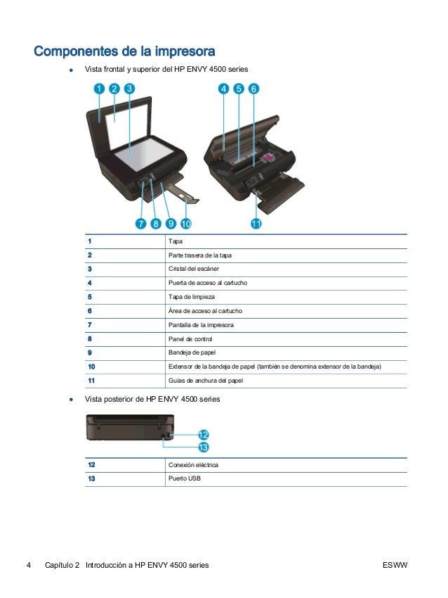 hp envy 4500 manual setup