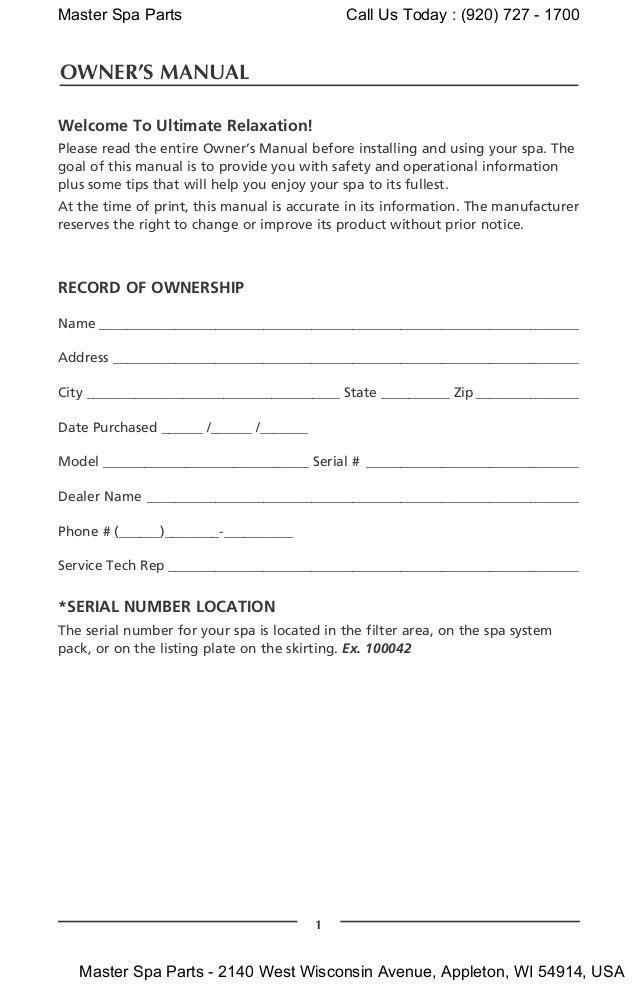 coast spas owners manual 2010
