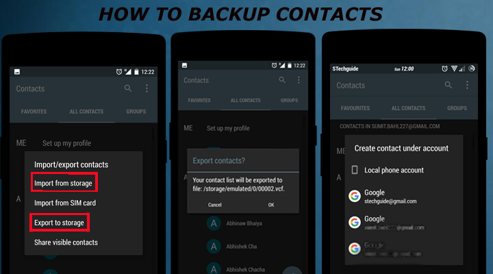 how to manually backup contacts android pc