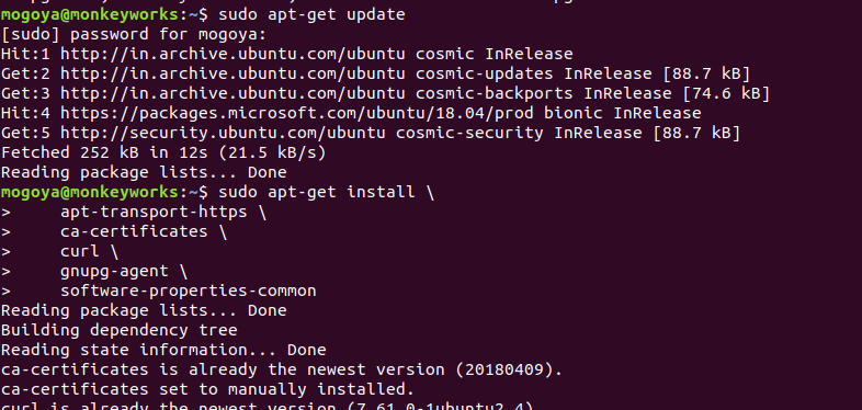 how to manually instal packages linux command
