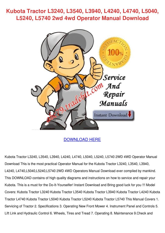 kubota l3240 service manual pdf