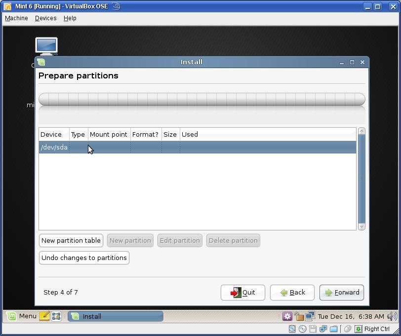 linux mint 18 manual partition