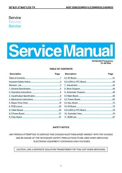 manual da tv aoc lc32w053