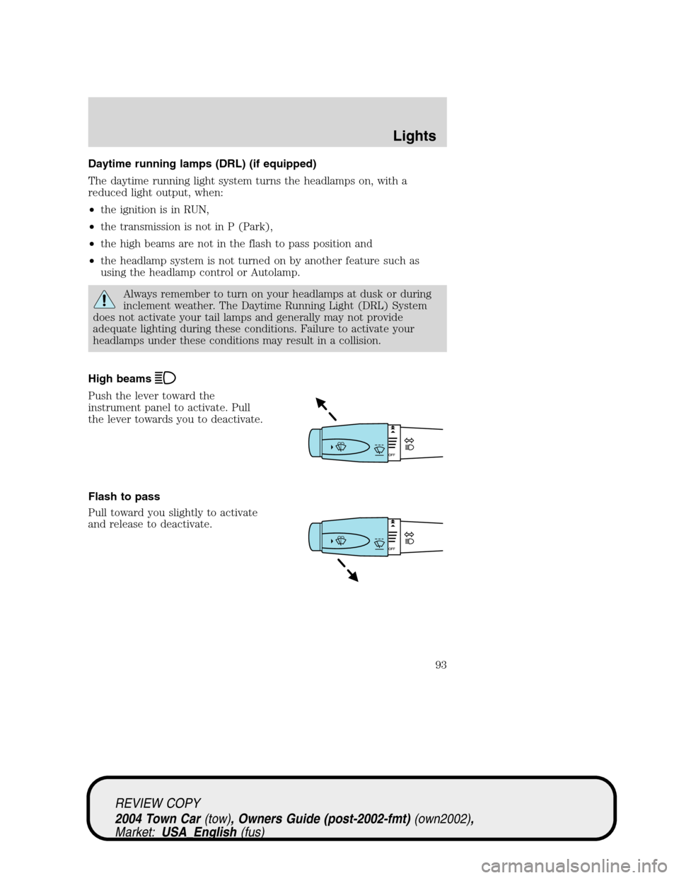 manual for lincoln town car 93