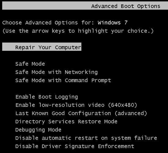 manual system restore command prompt windows 7