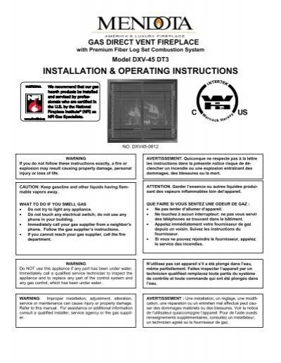 mendota gas fireplace model dxv45 deep timber 3 manual