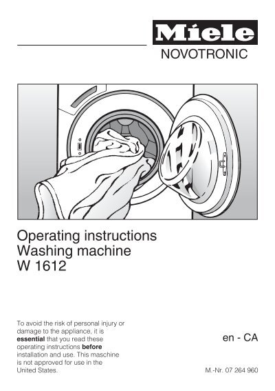 miele washing machine w3370 manual