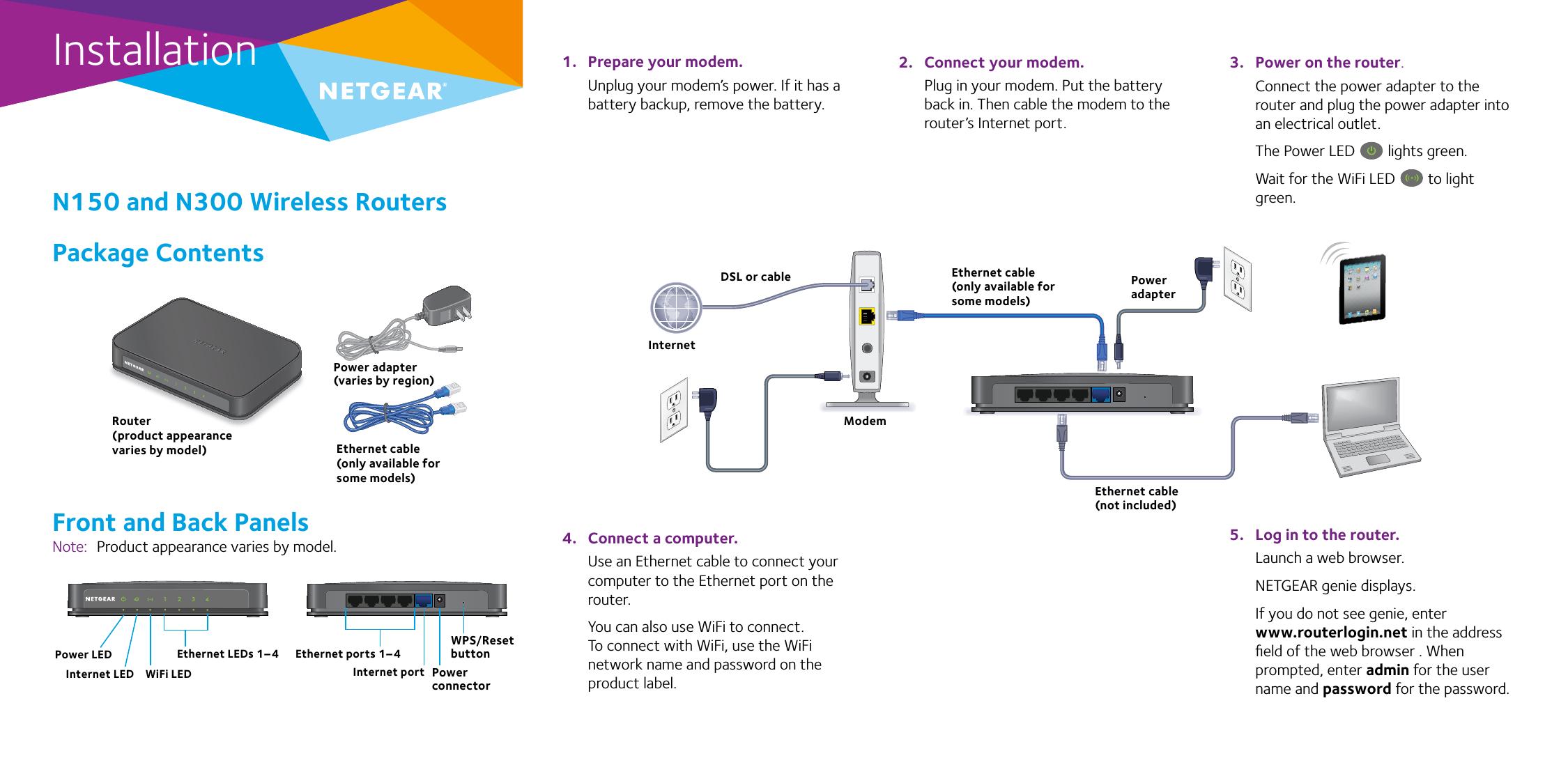 netgear n150 wireless modem router dgn1000 manual