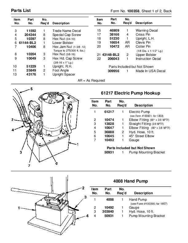 operating manual for shop press