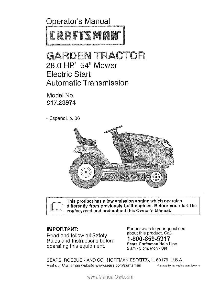 operator manual craftsman 10 29