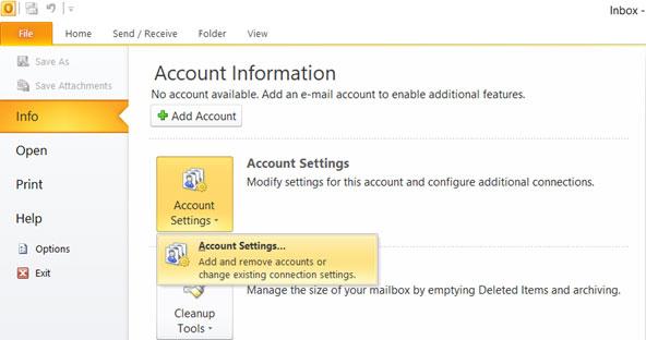 outlook 2010 manual account setup