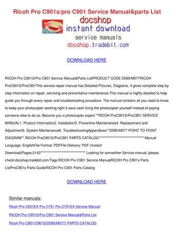 ricoh pro c751ex parts manual