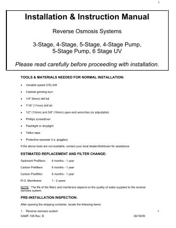 ropro reverse osmosis unit manual