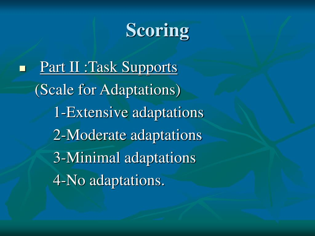 school function assessment scoring manual