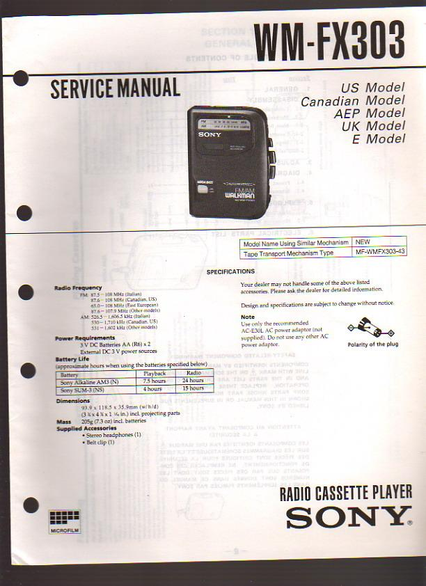 sony walkman srf-m70 manual